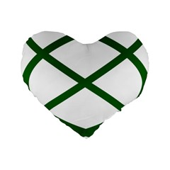 Lissajous Small Green Line Standard 16  Premium Flano Heart Shape Cushions by Mariart