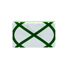 Lissajous Small Green Line Cosmetic Bag (xs) by Mariart