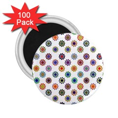Flowers Pattern Recolor Artwork Sunflower Rainbow Beauty 2 25  Magnets (100 Pack)  by Mariart