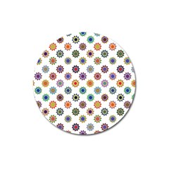 Flowers Pattern Recolor Artwork Sunflower Rainbow Beauty Magnet 3  (round) by Mariart