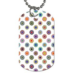 Flowers Pattern Recolor Artwork Sunflower Rainbow Beauty Dog Tag (one Side) by Mariart