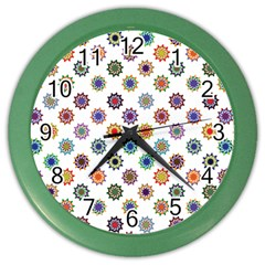 Flowers Pattern Recolor Artwork Sunflower Rainbow Beauty Color Wall Clocks by Mariart