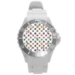 Flowers Pattern Recolor Artwork Sunflower Rainbow Beauty Round Plastic Sport Watch (l) by Mariart