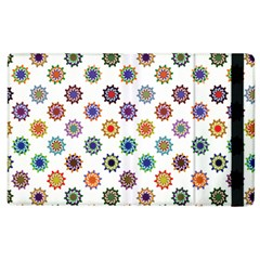 Flowers Pattern Recolor Artwork Sunflower Rainbow Beauty Apple Ipad 2 Flip Case by Mariart