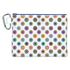 Flowers Pattern Recolor Artwork Sunflower Rainbow Beauty Canvas Cosmetic Bag (xxl) by Mariart