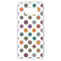 Flowers Pattern Recolor Artwork Sunflower Rainbow Beauty Samsung Galaxy S8 White Seamless Case