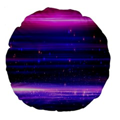 Massive Flare Lines Horizon Glow Particles Animation Background Space Large 18  Premium Flano Round Cushions by Mariart