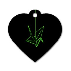 Origami Light Bird Neon Green Black Dog Tag Heart (one Side) by Mariart