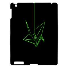 Origami Light Bird Neon Green Black Apple Ipad 3/4 Hardshell Case by Mariart