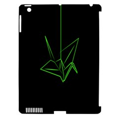 Origami Light Bird Neon Green Black Apple Ipad 3/4 Hardshell Case (compatible With Smart Cover) by Mariart