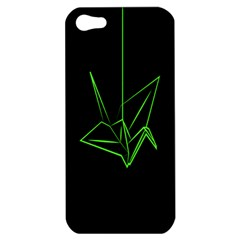Origami Light Bird Neon Green Black Apple Iphone 5 Hardshell Case by Mariart