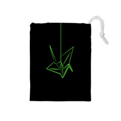Origami Light Bird Neon Green Black Drawstring Pouches (medium)  by Mariart