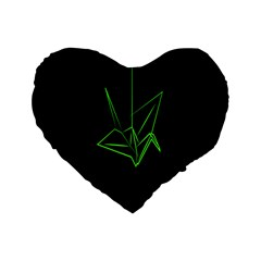 Origami Light Bird Neon Green Black Standard 16  Premium Flano Heart Shape Cushions by Mariart