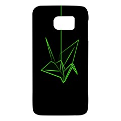 Origami Light Bird Neon Green Black Galaxy S6 by Mariart