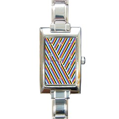 Lines Chevron Yellow Pink Blue Black White Cute Rectangle Italian Charm Watch by Mariart