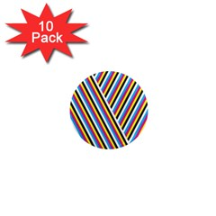 Lines Chevron Yellow Pink Blue Black White Cute 1  Mini Magnet (10 Pack)  by Mariart
