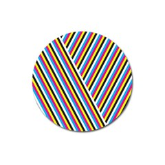 Lines Chevron Yellow Pink Blue Black White Cute Magnet 3  (round) by Mariart