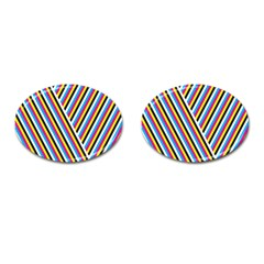 Lines Chevron Yellow Pink Blue Black White Cute Cufflinks (oval) by Mariart