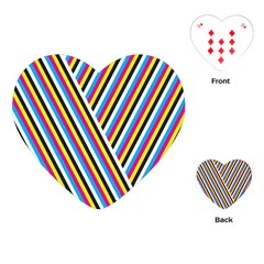 Lines Chevron Yellow Pink Blue Black White Cute Playing Cards (heart)  by Mariart