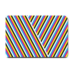 Lines Chevron Yellow Pink Blue Black White Cute Small Doormat  by Mariart