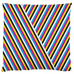 Lines Chevron Yellow Pink Blue Black White Cute Large Cushion Case (one Side) by Mariart