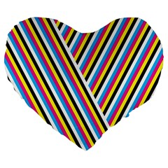 Lines Chevron Yellow Pink Blue Black White Cute Large 19  Premium Heart Shape Cushions by Mariart