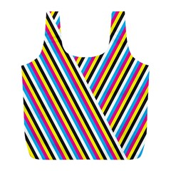 Lines Chevron Yellow Pink Blue Black White Cute Full Print Recycle Bags (l)  by Mariart