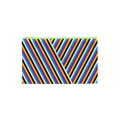 Lines Chevron Yellow Pink Blue Black White Cute Cosmetic Bag (xs) by Mariart