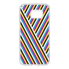 Lines Chevron Yellow Pink Blue Black White Cute Samsung Galaxy S7 Edge White Seamless Case by Mariart