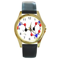 Nitroglycerin Lines Dna Round Gold Metal Watch by Mariart