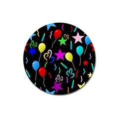 Party Pattern Star Balloon Candle Happy Magnet 3  (round) by Mariart