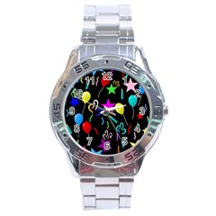 Party Pattern Star Balloon Candle Happy Stainless Steel Analogue Watch by Mariart