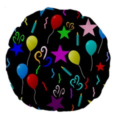 Party Pattern Star Balloon Candle Happy Large 18  Premium Round Cushions by Mariart