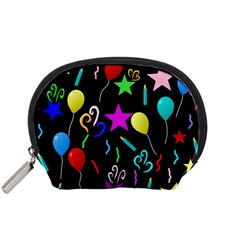 Party Pattern Star Balloon Candle Happy Accessory Pouches (small)  by Mariart