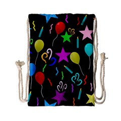 Party Pattern Star Balloon Candle Happy Drawstring Bag (small) by Mariart
