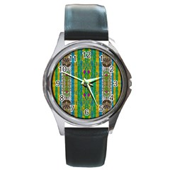 Rainbows Rain In The Golden Mangrove Forest Round Metal Watch by pepitasart