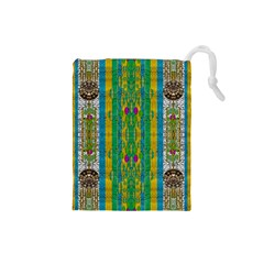 Rainbows Rain In The Golden Mangrove Forest Drawstring Pouches (small)  by pepitasart