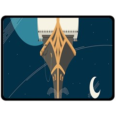 Planetary Resources Exploration Asteroid Mining Social Ship Double Sided Fleece Blanket (large)  by Mariart