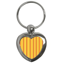 Red Orange Lines Back Yellow Key Chains (heart)  by Mariart