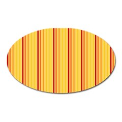 Red Orange Lines Back Yellow Oval Magnet by Mariart