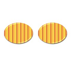 Red Orange Lines Back Yellow Cufflinks (oval) by Mariart