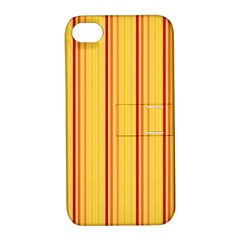 Red Orange Lines Back Yellow Apple Iphone 4/4s Hardshell Case With Stand by Mariart