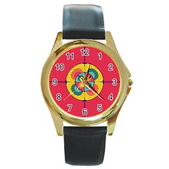 Color Scope Round Gold Metal Watch by linceazul