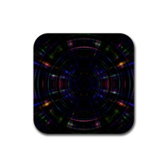 Psychic Color Circle Abstract Dark Rainbow Pattern Wallpaper Rubber Square Coaster (4 Pack)  by Mariart