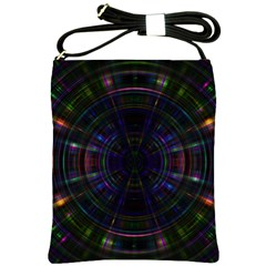 Psychic Color Circle Abstract Dark Rainbow Pattern Wallpaper Shoulder Sling Bags by Mariart