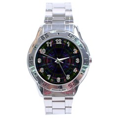 Psychic Color Circle Abstract Dark Rainbow Pattern Wallpaper Stainless Steel Analogue Watch by Mariart