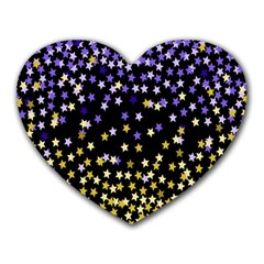 Space Star Light Gold Blue Beauty Heart Mousepads by Mariart