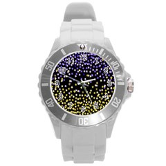 Space Star Light Gold Blue Beauty Round Plastic Sport Watch (l) by Mariart