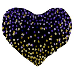 Space Star Light Gold Blue Beauty Large 19  Premium Heart Shape Cushions by Mariart