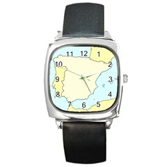 Spain Map Modern Square Metal Watch by Mariart